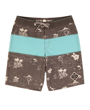 -Swimwear-Salty Crew Mens Chart Plotter Boardshort - Charcoal-Salty Crew-Seaside Surf Shop