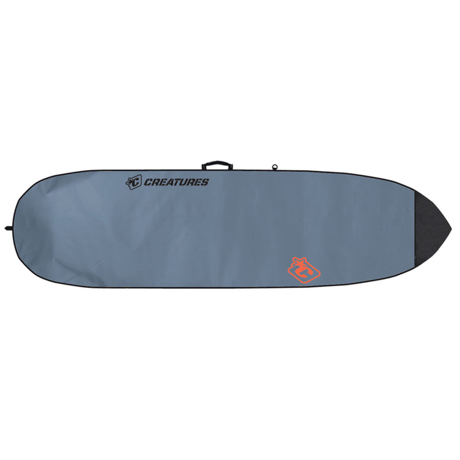 Creatures Fish Lite Bag - Charcoal/Orange, Surf Accessories, Creatures of Leisure, Creatures of Leisure, Wide enough for the weirdest of retro shapes, and for fish with girth. Dense 5mm closed-cell foam, tough exterior, shiny on one side to keep the sun off. Shoulder strap included.Creatures of Leisure Lite! Holds 1 board.• 5mm closed cell padding• Shoulder strap • 12 month warranty• Heat reflective silver poly fabric • Tough, lockable metal sliders