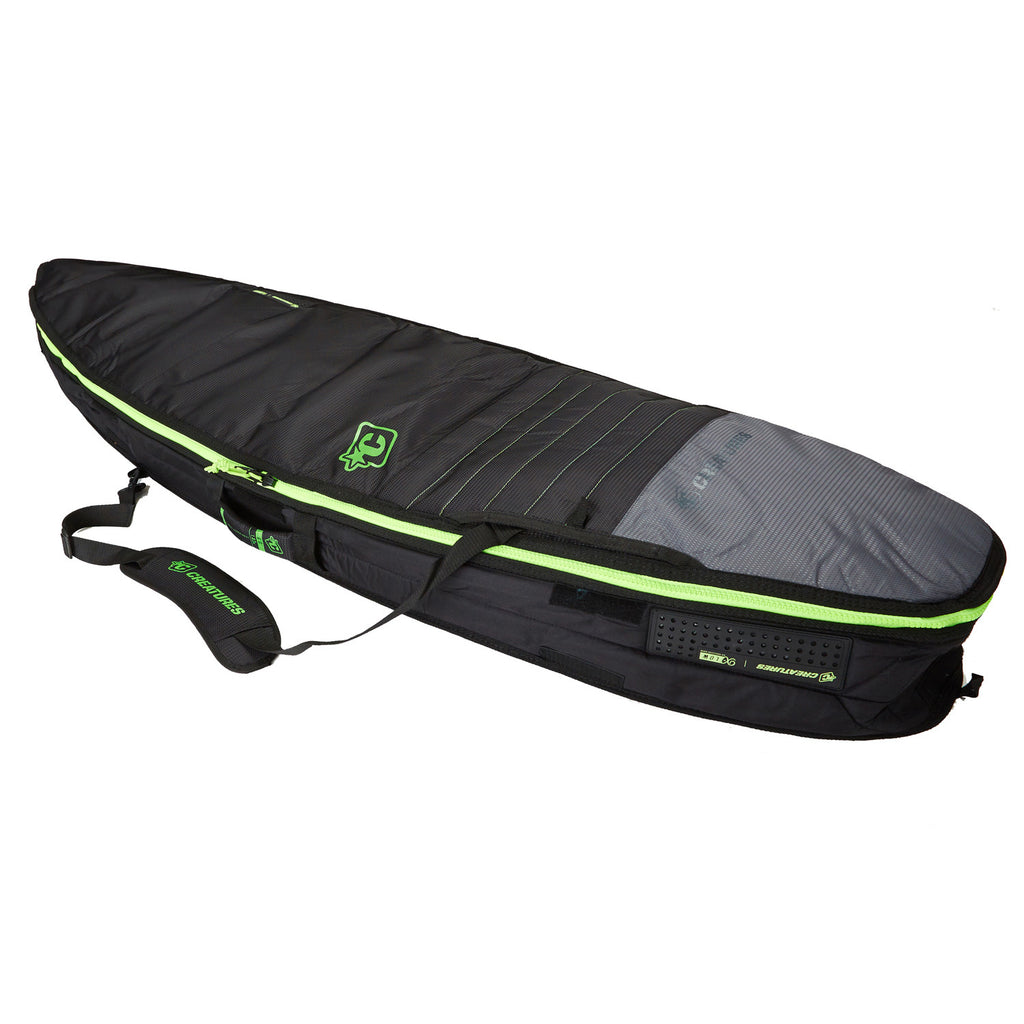 -Surf Accessories-Creatures Shortboard Double Bag - Charcoal Lime-Creatures of Leisure-Seaside Surf Shop