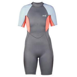 -Wetsuits-Xcel Doreen Womens 2mm Back Zip S/S Springsuit - Gunmetal/Coral/Cotton/Candy Blue-Xcel Wetsuits-Seaside Surf Shop