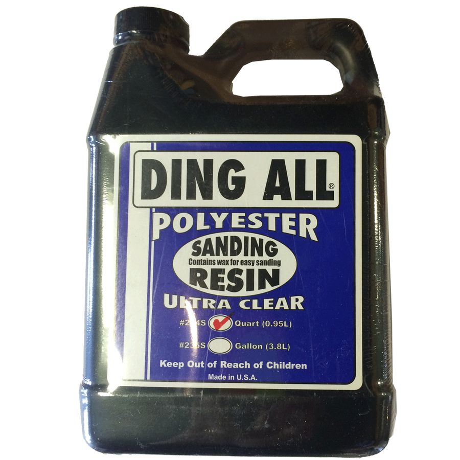 Ding All Ultra Clear Sanding Resin - 1 Quart, Surf Accessories, Blocksurf, Polyester Sanding Resin, Ding All Ultra Clear Sanding Resin will ship only to addresses in the contiguous 48 states at this time, due to the chemical nature of our products we can only ship via Ground. We do not ship to Post Office Boxes-items may be shipped separately if you have multiple items on order.This comes with a small .25 oz vial of catalyst for quicker setting.