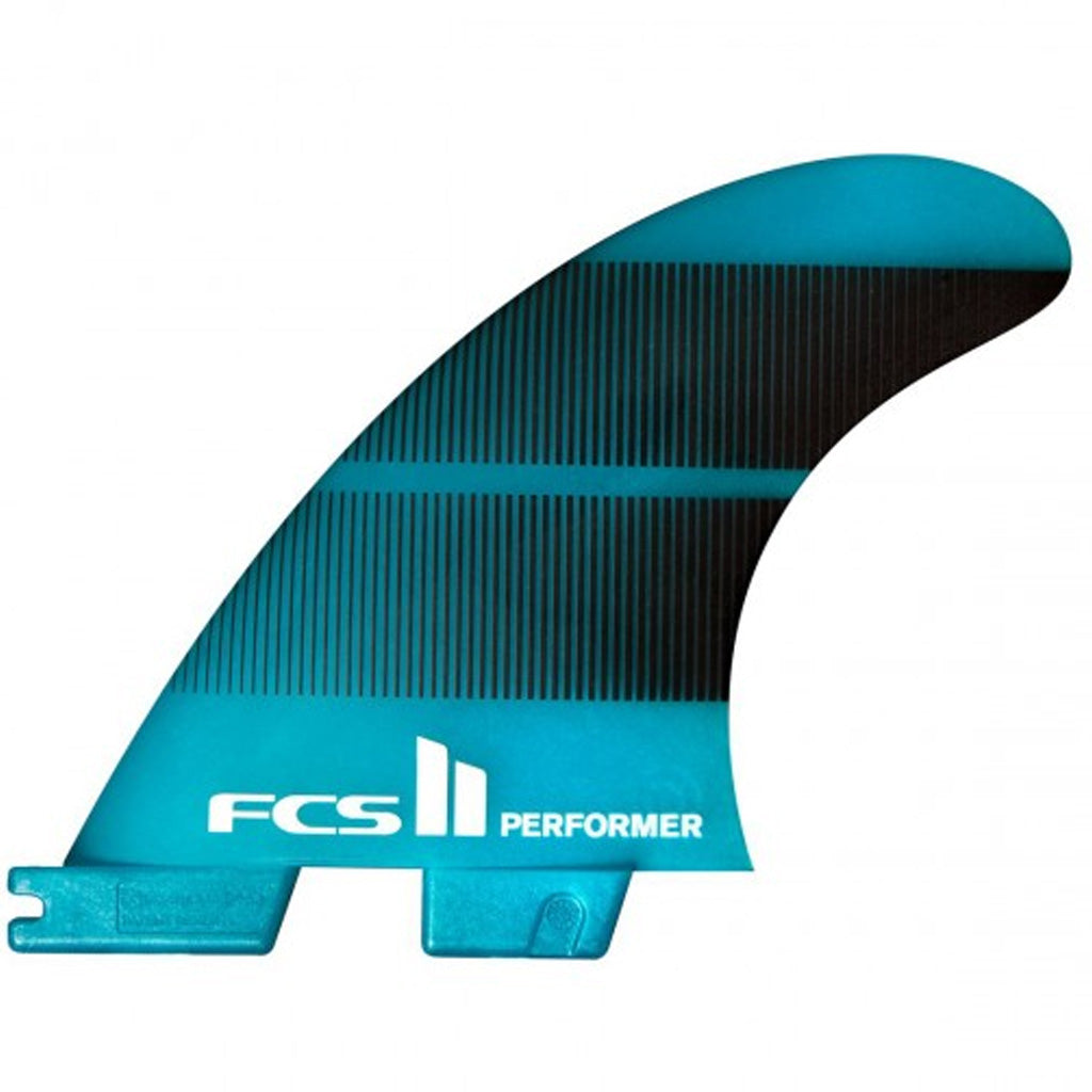 FCS II Performer Neo Glass Large Teal Gradient Tri Fins - Seaside Surf Shop