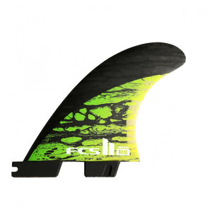 FCS II MB PC Carbon Green Medium Tri-Quad Retail Fins, Surf Accessories, FCS, Tri Fin,