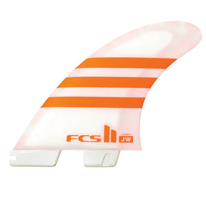 FCS II JW PC Large Orange/White Tri Retail Fins, Surf Accessories, FCS, Tri Fin, FCS II JW PC Large Orange/White Tri Retail Fins