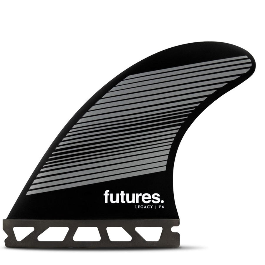 Futures Fins - F6 Legacy Five Fin Set - Gray/Black, Surf Accessories, Futures Fins, Five Fin, The F6 Legacy Series Thruster is a medium sized fin with a neutral template and balanced feel for all-around performance• Template Category | Neutral (all-around, balanced)• Construction | Honeycomb• Size | Medium (145 – 195 lbs)• Ride Number | Balanced - 6.4
