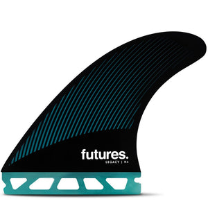 Futures Fins - R6 Legacy Tri Fin Set - Teal/Black, Surf Accessories, Futures Fins, Tri Fin, The R6 Legacy Series Thruster is a medium sized fin with a rake template and balanced feel for increased hold through carves.• Template Category | Rake (drawn-out, control, drive)• Construction | Honeycomb• Size | Medium (145 – 195 lbs)• Ride Number | Balanced - 5.4