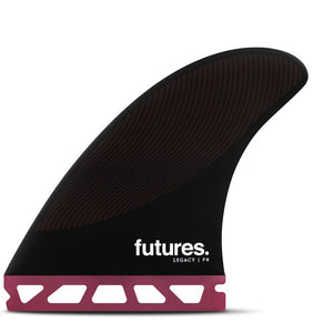 Futures Fins - P4 Legacy Tri Fin Set - Burgundy/Black, Surf Accessories, Futures Fins, Tri Fin, The P8 Legacy Series Thruster is a large sized fin with a pivot template and balanced feel for tighter turns in the pocket. • Template Category | Pivot (tight turns, quick, loose)• Construction | Honeycomb• Size | Small (101-150 lbs)• Ride Number | Balanced - 7-4