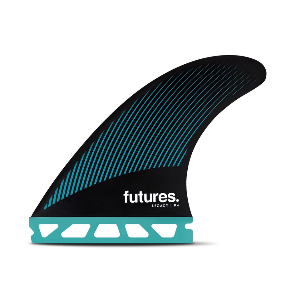 Futures Fins - R4 HC Legacy Series Tri Fins - Teal/Black, Surf Accessories, Futures Fins, Tri Fin, The R4 Legacy Series Thruster is a small sized fin with a rake template and balanced feel for increased hold through carves.• Template Category | Rake (drawn-out, control, drive)• Construction | Honeycomb• Size | Small (105 – 110 lbs)• Ride Number | Balanced - 5.4