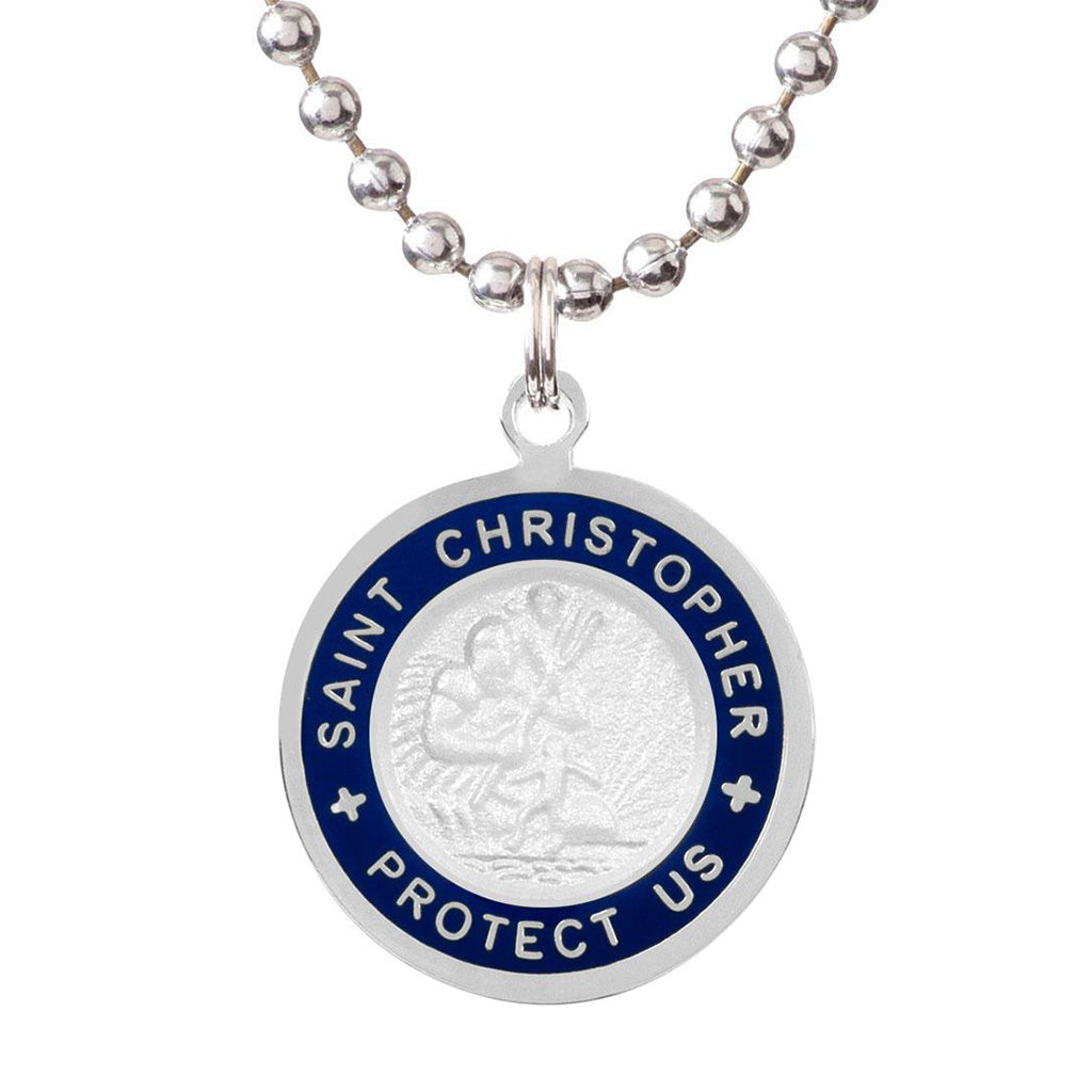 Saint Christopher Medium Medal - White/Royal Blue - Seaside Surf Shop