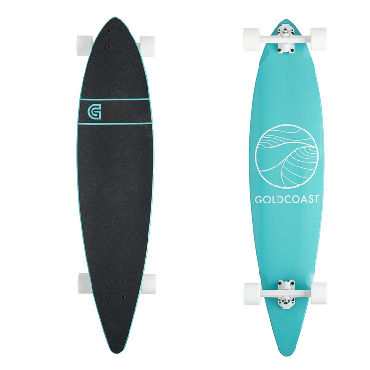 "-Skate-Gold Coast Classic Turquoise Pintail Longboard 40"" - Complete-Gold Coast Skateboards-Seaside Surf Shop"
