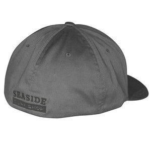 Seaside Surf Shop New Wave Logo Flexfit Cap - Dark Grey/Gloss Black, Apparel Accessories, Seaside Surf Shop, Ball Caps, Seaside Surf Dark Grey Flexfit 6 panel cap with upgraded embroidered wave logo in Gloss Black on front and back..Sick! 63% Poly, 34% Cotton, & 3% PU Spandex