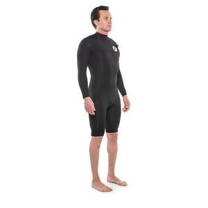 Isurus Shield Zipfree Mens 2.2mm Long Sleeve Springsuit - Black-Isurus Wetsuits-Seaside Surf Shop