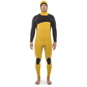 Isurus Ti-Shield Zipfree Mens 4.4mm Hooded Wetsuit - Black-Isurus Wetsuits-Seaside Surf Shop