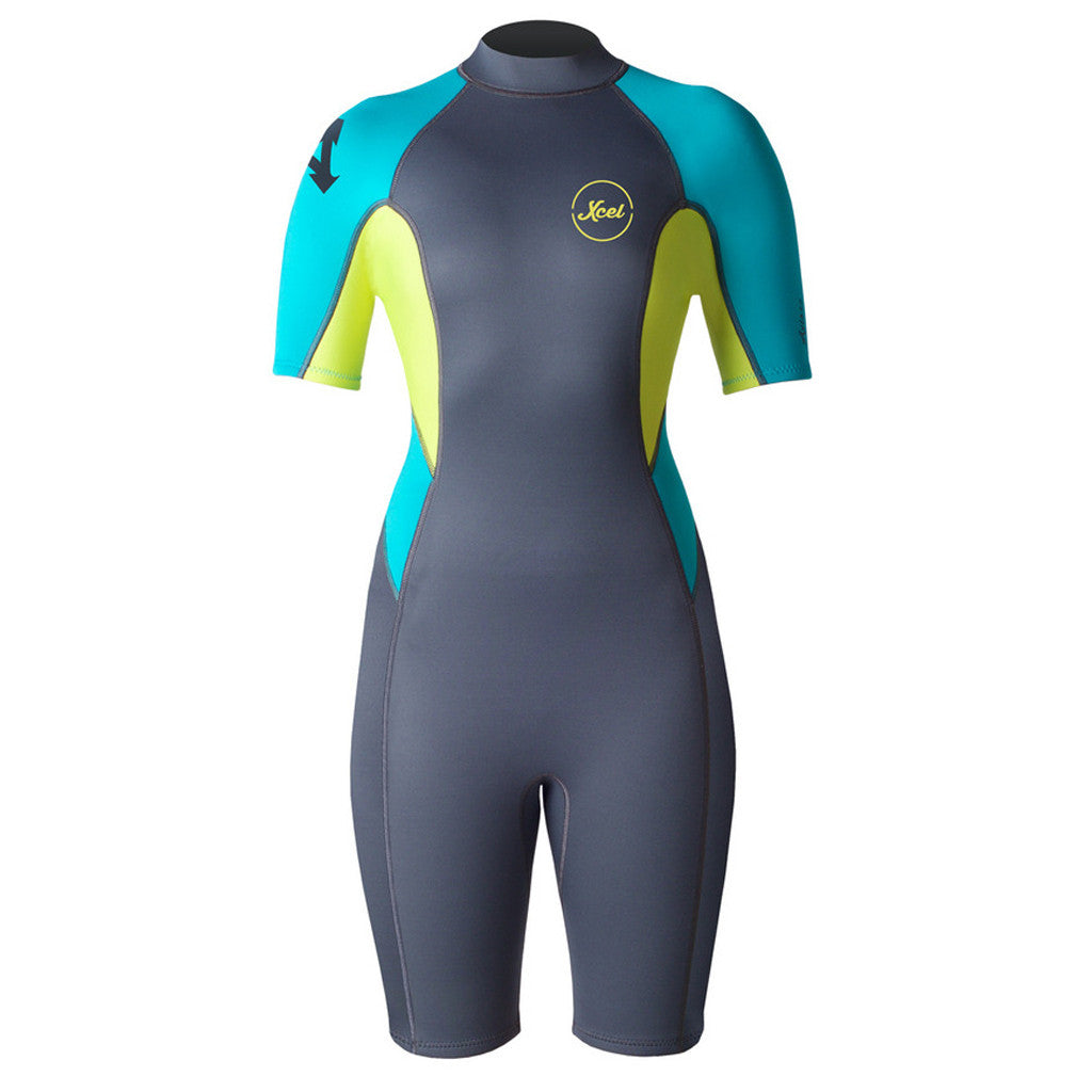 -Wetsuits-Xcel Ilima Womens 2mm Backzip Springsuit - Gunmetal/Lemon/Blue-Xcel Wetsuits-Seaside Surf Shop