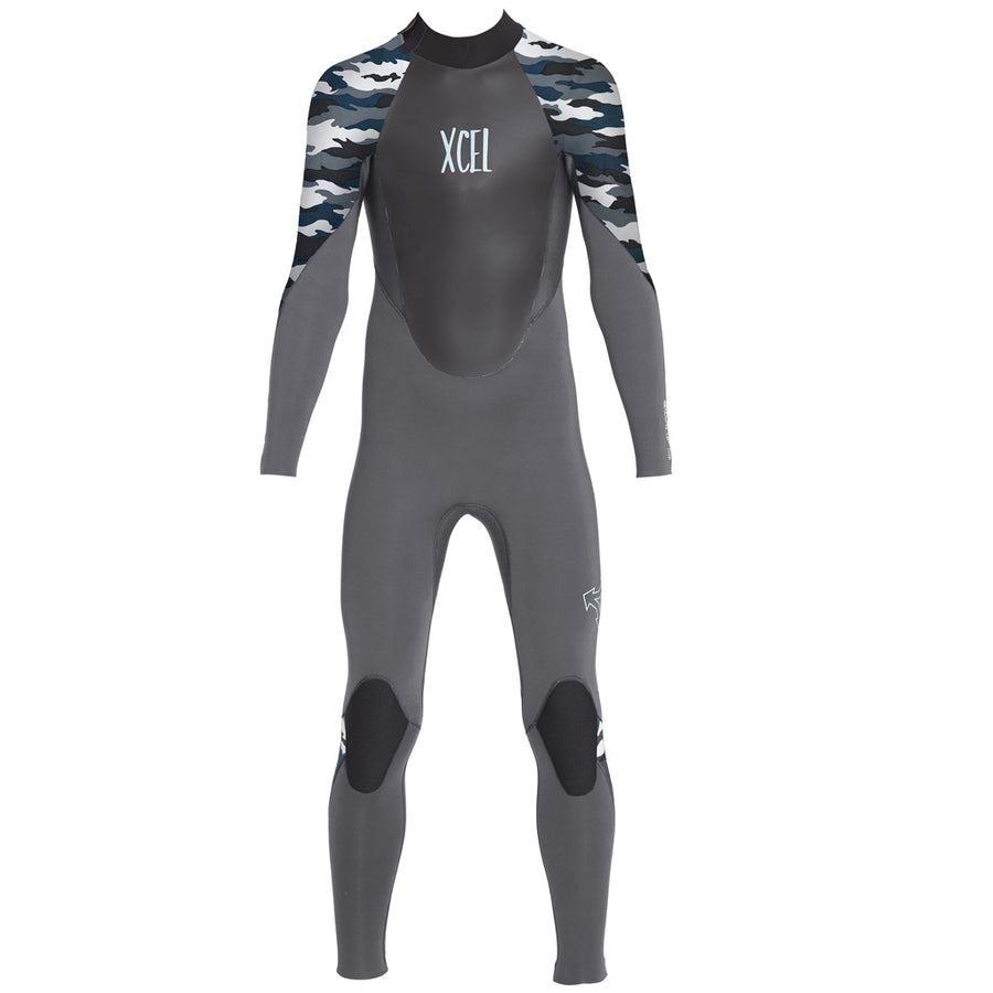 Xcel Axis X Youth's 4/3mm Backzip Wetsuit - Jet Black/Snow Camo
