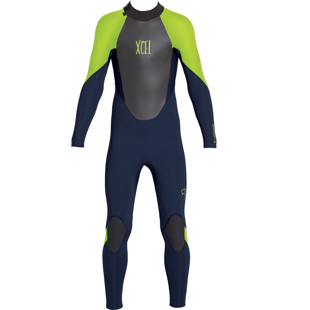 Xcel Axis X Youth S 4 3mm Backzip Wetsuit Ink Blue Fluorescent Lime