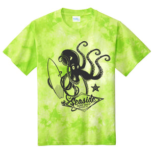 Seaside Surf Shop Youth Octopus Tee - Lemon Lime Tye Dye