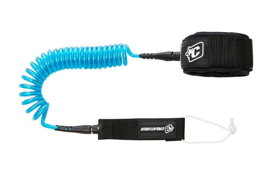 Creatures 10' SUP Coiled Knee Leash - Blue/Black-Creatures of Leisure-Seaside Surf Shop