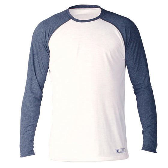 -Wetsuit Accessories-Xcel ThreadX Mens L/S Surf Shirt - White/Navy-Xcel Wetsuits-Seaside Surf Shop