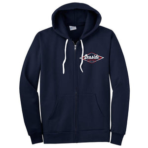 Seaside Surf Shop Mens Vintage Logo Zip Hoody - Navy, Apparel, Seaside Surf Shop, Mens Zipped Hoodys, A classic-style Seaside Surf Shop logo on a cozy soft hooded sweatshirt with a zipper.