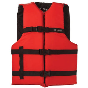 Onyx Personal Floatation Device - Adult Oversized Red, Outdoor, Onyx, Boating/Rafting Vests, Onyx Adult General Purpose Vest (Oversize) - 103000-100-005-12 / 3580-0131Provides comfort and safety for all types of water activities200 denier nylon and 150 denier poly-twillAdjustable belts and chest strapLightweight and durable flotation foamOpen-sided stylingLarge armholes * U.S. Coast Guard Approved Type III Life Jacket / Personal Flotation Device (PFD)