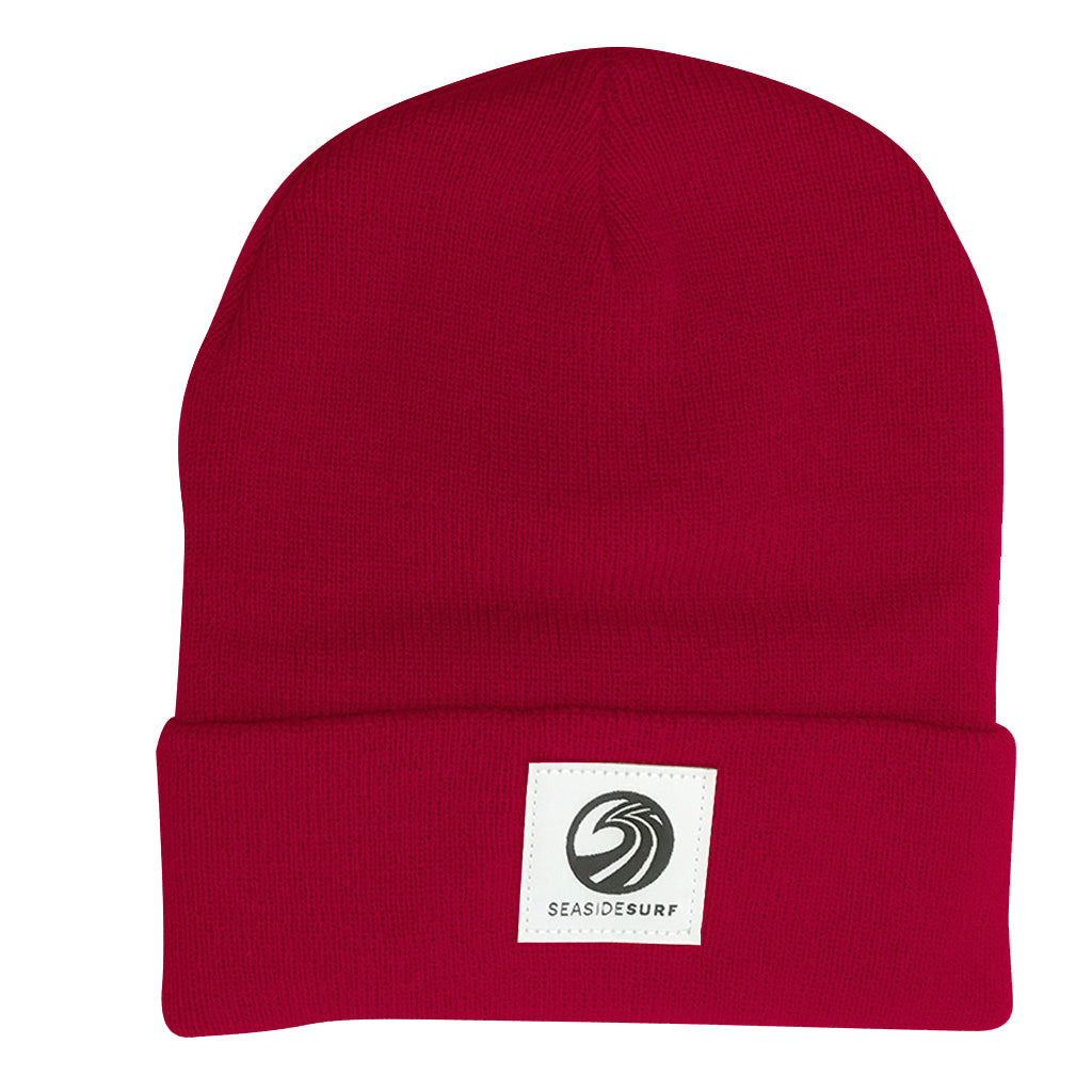 Seaside Surf Shop Wave Patch Logo  Beanie - Cardinal - Seaside Surf Shop