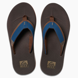 Reef Mens Fanning Low - Navy/Brown, Footwear, Reef, Reef Mens Sandals, Introducing the Fanning Low with Thirst Quenching Technology! Fully equipped with a perforated and padded liner for breathability and comfort, a high rebound molded EVA footbed, 360 degree airbag under the heel, and of course, a bottle opener on the outsole for cracking a couple cold ones!