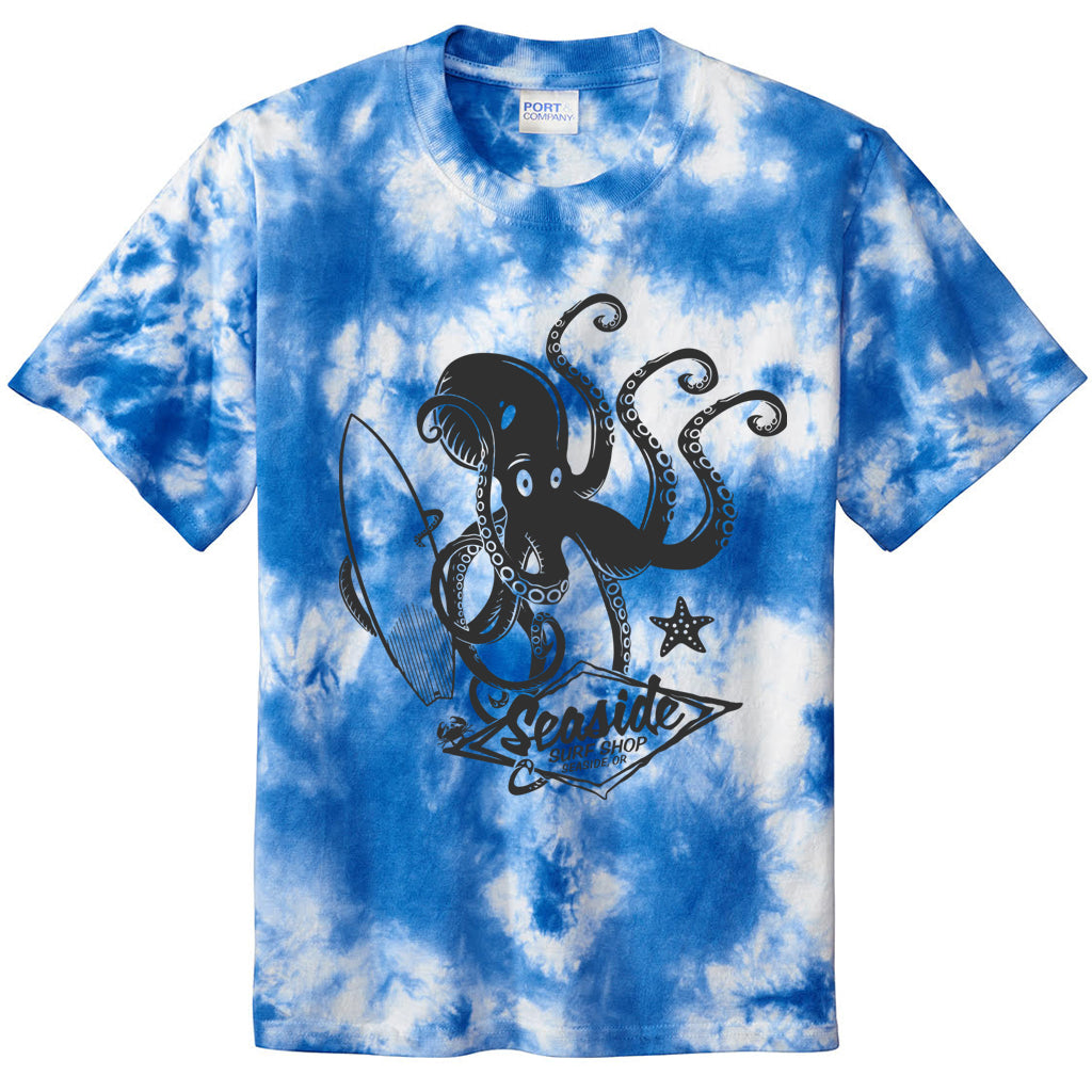 Seaside Surf Shop Youth Octopus Tee - True Royal Tye Dye - Seaside Surf Shop