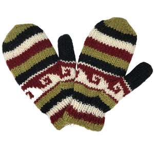 Nepalese Handmade 100% Wool Fleece Lined Mittens - Maple-Himalayan Handcrafts-Seaside Surf Shop