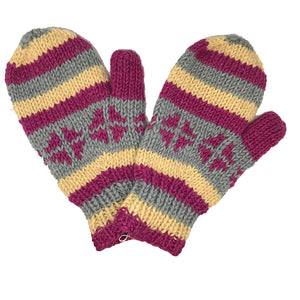 Nepalese Handmade 100% Wool Fleece Lined Mittens - Rose-Himalayan Handcrafts-Seaside Surf Shop