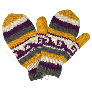 Nepalese Handmade 100% Wool Fleece Lined Mittens - Viking, Apparel Accessories, Himalayan Handcrafts, Mittens, Handmade in Nepal, these 100% wool mittens with a fleece lining will warm your hands up right after a cold water surf session.