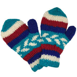 Nepalese Handmade 100% Wool Fleece Lined Mittens - Marine, Apparel Accessories, Himalayan Handcrafts, Mittens, Handmade in Nepal, these 100% wool mittens with a fleece lining will warm your hands up right after a cold water surf session.