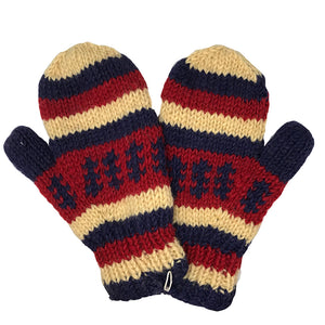 Nepalese Handmade 100% Wool Fleece Lined Mittens - Nautical