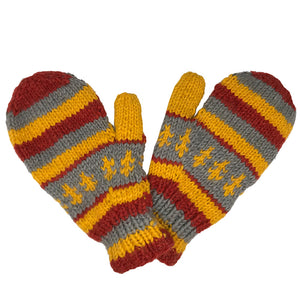 Nepalese Handmade 100% Wool Fleece Lined Mittens - Cloudy Sunset, Apparel Accessories, Himalayan Handcrafts, Mittens, Handmade in Nepal, these 100% wool mittens with a fleece lining will warm your hands up right after a cold water surf session.