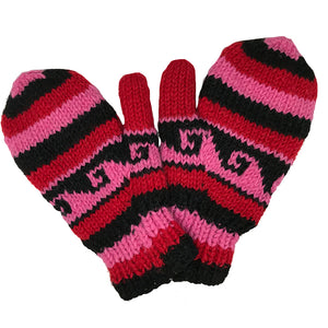 Nepalese Handmade 100% Wool Fleece Lined Mittens - Love-Himalayan Handcrafts-Seaside Surf Shop