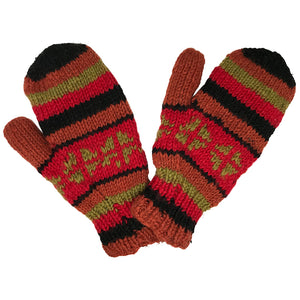 Nepalese Handmade 100% Wool Fleece Lined Mittens - Burnt Crimson