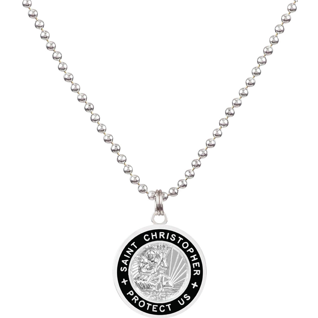 Saint Christopher Large Medal - Silver/Black - Seaside Surf Shop