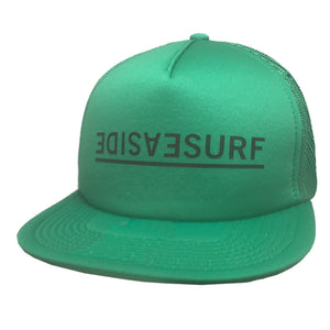 Seaside Surf Shop Invert Trucker Cap - Green, Apparel Accessories, Seaside Surf Shop, Ball Caps, Trucker/Mesh Caps, Seaside Surf Shop Inverted Text logo on a snap-back mesh cap. One Size fits all, snap back enclosure.