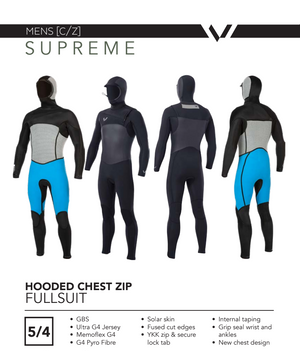 Volte Supreme Mens 5/4 Chest-Zip Hooded Wetsuit - Black