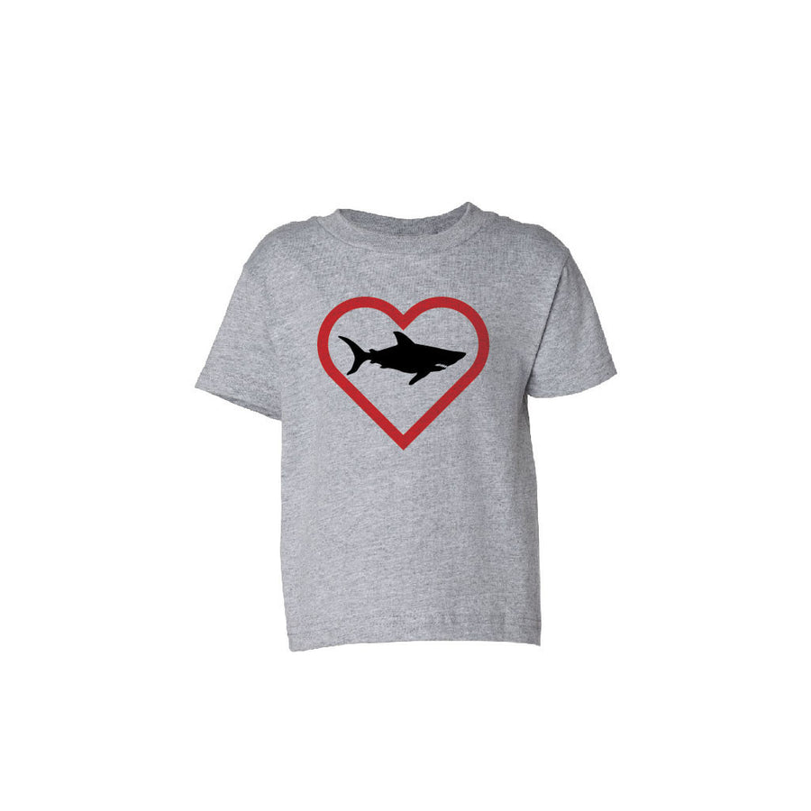 Seaside Surf Shop Toddler Heart Shark Tee - Grey, Apparel, Seaside Surf Shop, Toddler Tees, Kids who love sharks are cool. We heart our whole ocean! A Seaside Surf Shop original T-shirt graphic.