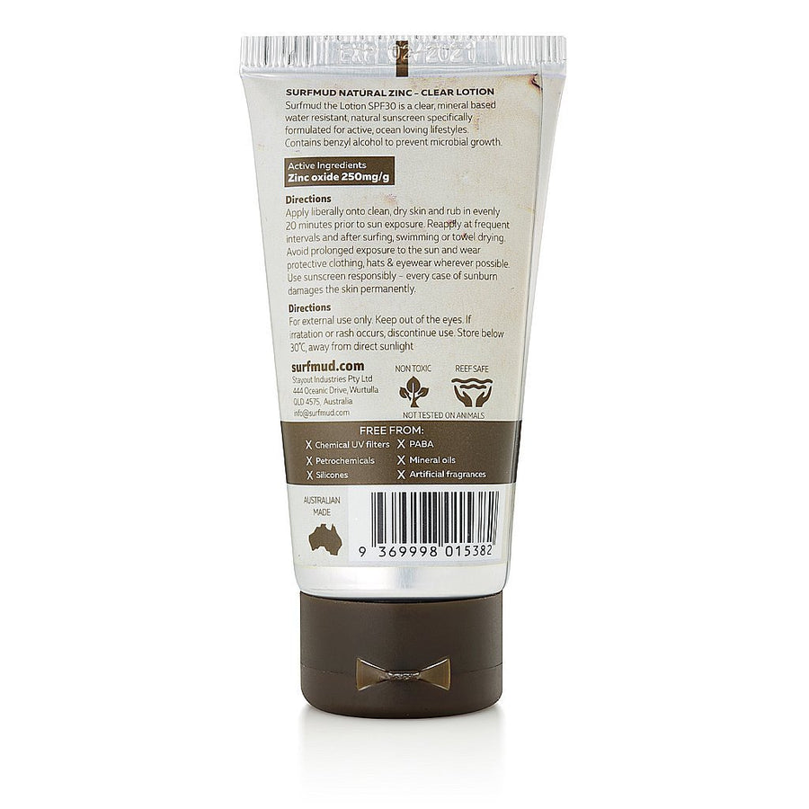 Surfmud - The Lotion SPF30 Sunscreen - 50g, Sunscreen, Surfmud, Surfmud, Made by surfers for surfers. This hydrating, sweat resistant formulation for the face and body protects the skin from the harsh conditions faced by surfers. High protection while avoiding chemical UV filters. 50 gramsSPF30 Sunscreen4 Hrs Water Resistant