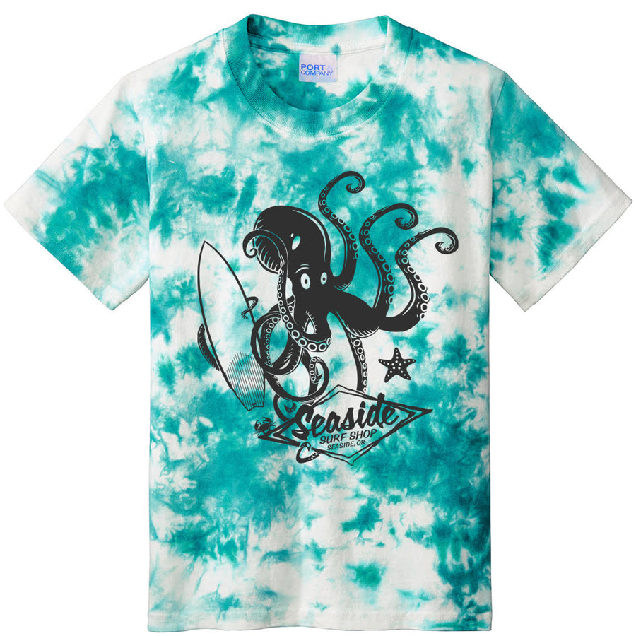 Seaside Surf Shop Youth Octopus Tee - Teal Tye Dye