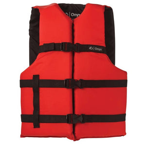 Onyx Personal Floatation Device - Adult Universal Red, Swimwear, Onyx, Boating/Rafting Vests, Onyx Adult General Purpose Vest (Universal) - 103000-500-004-12 / 3570-0132Provides comfort and safety for all types of water activities200 denier nylon and 150 denier poly-twillAdjustable belts and chest strapLightweight and durable flotation foamOpen-sided stylingLarge armholes * U.S. Coast Guard Approved Type III Life Jacket / Personal Flotation Device (PFD)