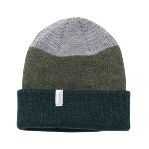 Coal Mens The Frena Beanie Cap - Forest Green Stripe