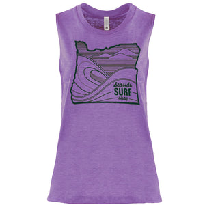 Seaside Surf Shop Womens Oregon Waves Tank - Urchin Purple