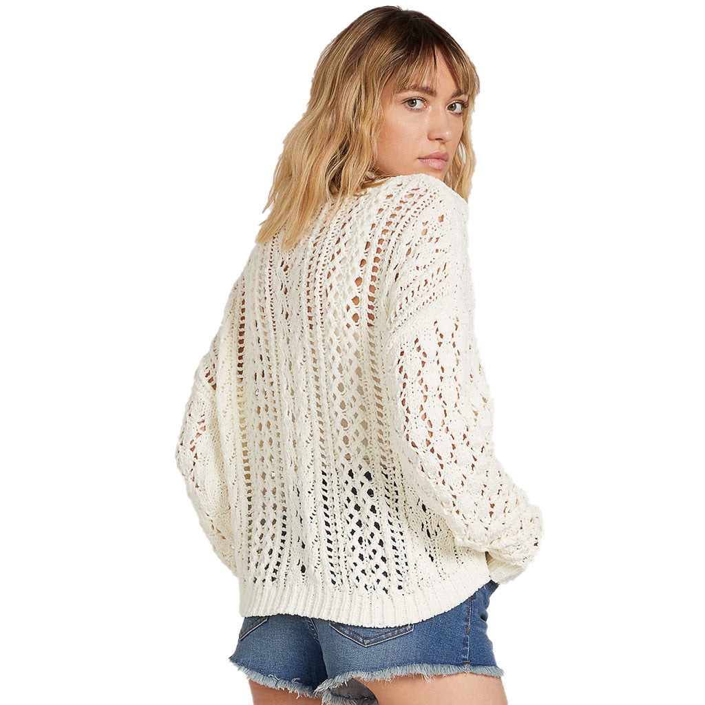 Volcom Womens Wish Net Crew Neck Sweater - Star White - Seaside Surf Shop