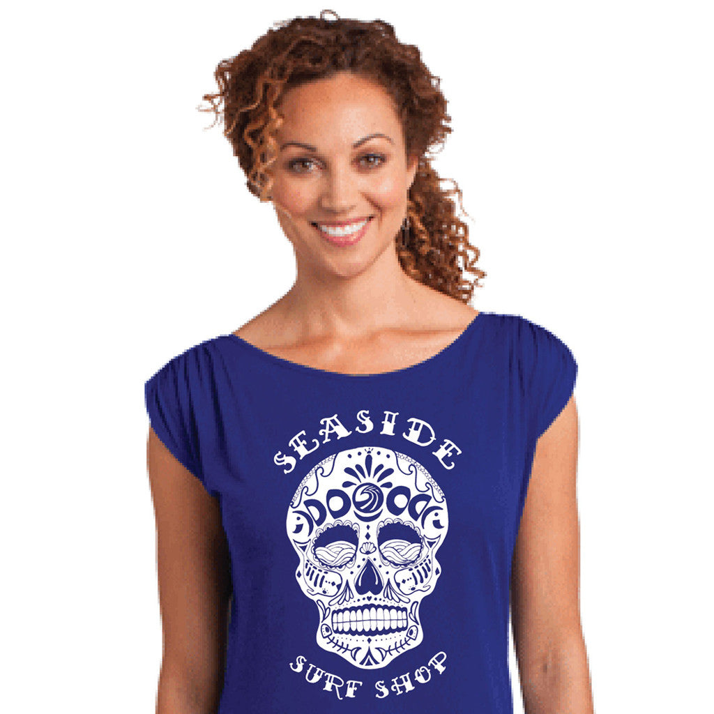 Seaside Surf Shop Womens Sugar Skull Tee - Blue