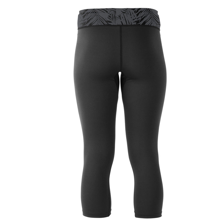 "Xcel Womens Molokai Premium 10oz Sport Capri - Black/Ash, Wetsuit Accessories, Xcel Wetsuits, Womens Rashguards, Premium 10-ounce, 4-way stretch fabric with a comfortable, snug ""second skin"" fit. Tested and UPF rated to block over 98% of UVA/UVB radiation from the sun. Wide printed waistband with an inner drawstring for the ideal fit, in and out of the water. Capri length; hits at mid calf."