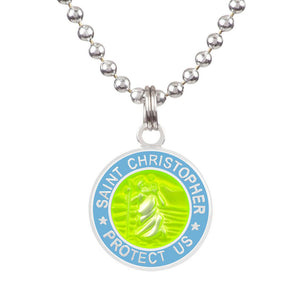 "Saint Christopher Medium Medal - Yellow/Baby Blue, Jewelry, Get Back Supply, St Christopher Medals, 3/4"" diameter. .24"" aluminum ball chain (can be shortened by cutting).Embossed back with tiny Get Back which ensures authenticity.Silver plated medallion.Care: Rinse with fresh water and wipe dry after wearing in ocean, pool etc."
