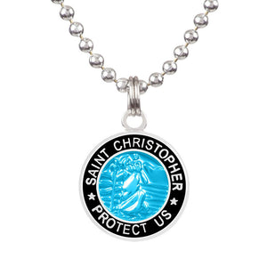"Saint Christopher Medium Medal - Aqua/Black, Jewelry, Get Back Supply, St Christopher Medals, 3/4"" diameter. .24"" aluminum ball chain (can be shortened by cutting).Embossed back with tiny Get Back which ensures authenticity.Silver plated medallion.Care: Rinse with fresh water and wipe dry after wearing in ocean, pool etc."